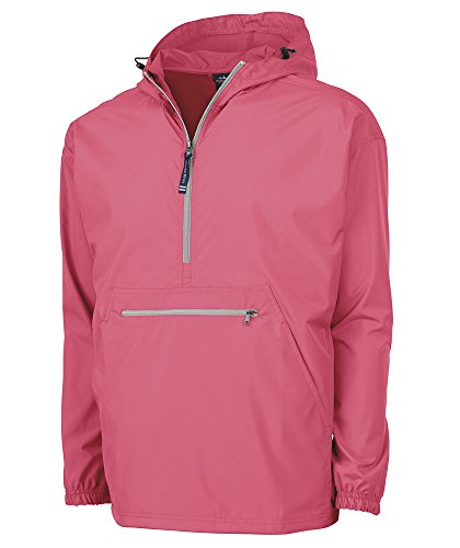 Charles River Apparel Pack-N-Go Wind & Water-Resistant Pullover (Reg/Ext Sizes), Coral, L