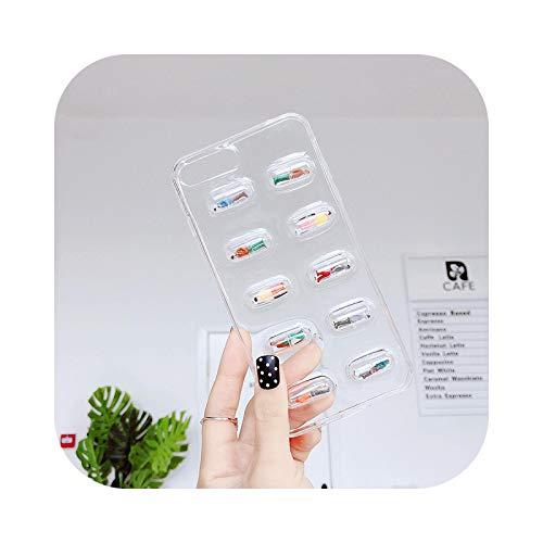 Schutzhülle für iPhone 7, transparent, 3D-Pillen-Kapsel-Kapseln, Telefon, Schutzhülle für iPhone 7 XS Max XR X 8 6 S Plus, Cartoon, weich, transparent, TPU – Clear-for iPhone XS
