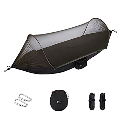 isYoung Hammock with Mosquito Net Parachute Fabric Hammock Net, Durable and Portable, Suit for 2 Persons, Tree Tent, Outdoors (Black/Army Green)