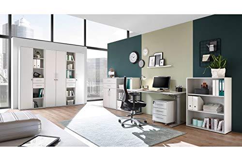 Büromöbel Pronto Office in Lichtgrau und Silber 8 Teile von Bega Megaset mit elektrisch höhenverstellbarem Schreibtisch, Rollcontainer, hoher Regalwand und Sideboardkombination …