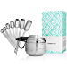 Stainless Steel Measuring Cups and Spoons, Set of 13 Pieces: Durable, Elegant All-in-One Kitchen Measuring Set for Dry and Liquid Ingredients - 7 Stackable Spoons and 6 Nesting Cups for Easy Storage (Renewed)
