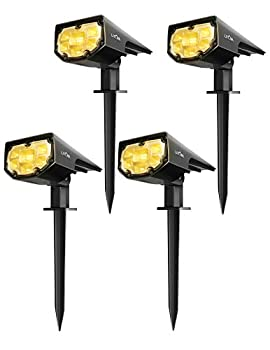 LITOM 12 LEDs Classic Solar IP67 Waterproof Outdoor Security Wall Lighting 2 Modes Wireless Landscaping Spotlights for Yard Garden Driveway Porch Walkway Pool Patio 4 Pack Warm White