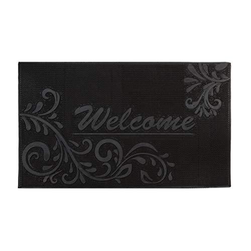 Relaxdays Fußmatte Gummi mit Welcome Blumen Motiv als Fußabtreter rutschfest und witterungsbeständig bei Regen, Schnee als Schmutzfangmatte mit floralem Muster HBT: ca. 0,5 x 75 x 45 cm, schwarz