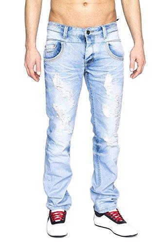 Megastyl Herren Hose Destroyed Jeans Hell-Blau Stone-Washed Slim-Fit 100% Baumwolle, Größe:W31 / L32