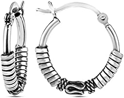 HIKARO Sterling Silver Jewelry Antique Small Balinese Hoop Earrings for Women Teen 17 MM