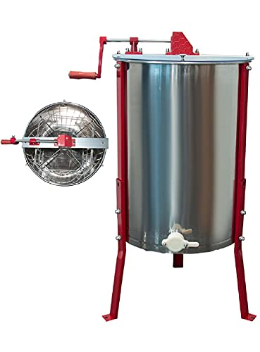 Honey Extractor Separator,4 Frame Extraction Apiary Centrifuge Equipment,304 Food Grade Stainless Steel Spinner Drum Manual Crank with Adjustable Height Stands(4 Frame)