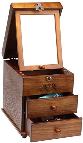 COLOM Reloj de la joyería caja de almacenaje simple caso cosmético retro de madera vestir caja de madera con varias capas múltiples...