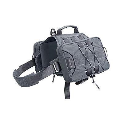 EXCELLENT ELITE SPANKER Dog Pack Hound Dog Saddle Bag Backpack for Travel Camping Hiking Medium & Large Dog with 2 Capacious Side Pockets(Grey)