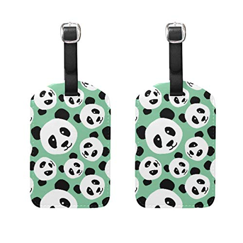 2 Pack Luggage Tags Fancy Animal Panda PU Leather ID Labels with Back Privacy Cover for Travel Bag Suitcase
