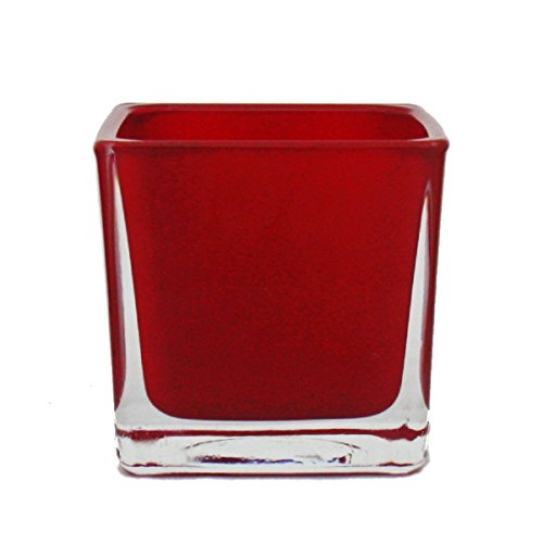 Übertopf Glas-Würfel - 8x8x8cm rot