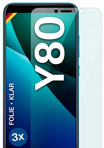 moex Klare Schutzfolie kompatibel mit Wiko Y80 - Bildschirmfolie kristallklar, HD Bildschirmschutz, dünne Kratzfeste Folie, 3X Stück