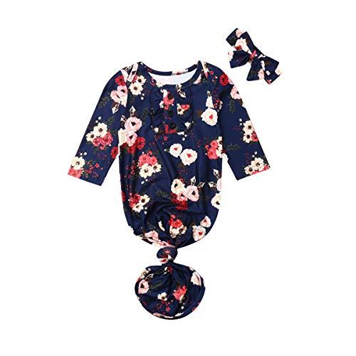 PDYLZWZY Neugeborenen Langarm Nachtwäsche Infant Boy gestreiften Schlafsack Baby Kuscheliges Nachthemd Strickkleid mit Knoten (Blau, 0-3 Monate)