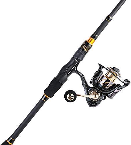 Sougayilang - Canna da pesca e mulinello Combo, ultra leggera in fibra di carbonio da 36 tonnellate, canna da pesca telescopica con 13+1BB bobina di filatura liscia per pesca da viaggio, HBG2.1+EC3000