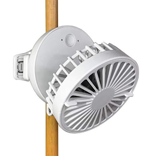 ドウシシャ 携帯扇風機 コンパクトファン ミニクリ 2電源(USB 充電式) 風量3段階 ピエリア ホワイト