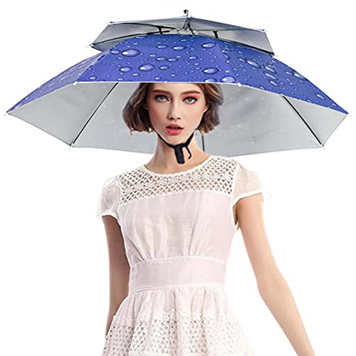 Hosuho Sombrero de paraguas de cabeza al aire libre, paraguas de cabeza plegable de doble capa impermeable transpirable pesca paraguas golf pesca camping sombrero