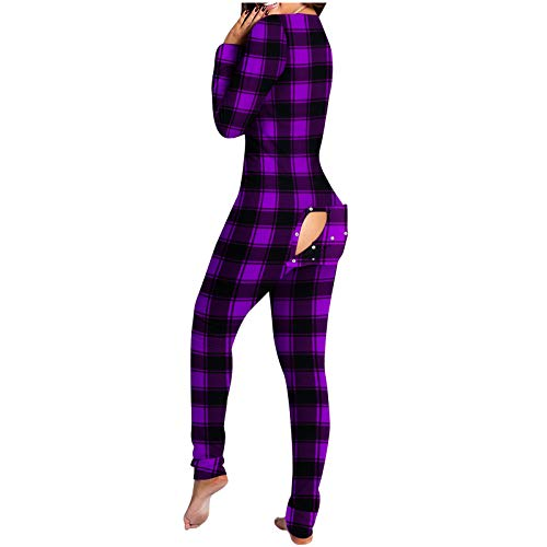 FABIURT Womens Onesie with Flap Women's Solid Color Pajamas Button-Down Front Functional Buttoned Flap for Women Adults Jumpsuit Nightwear Long Sleeve Warm Comfortable Bodysuit Sleepwear