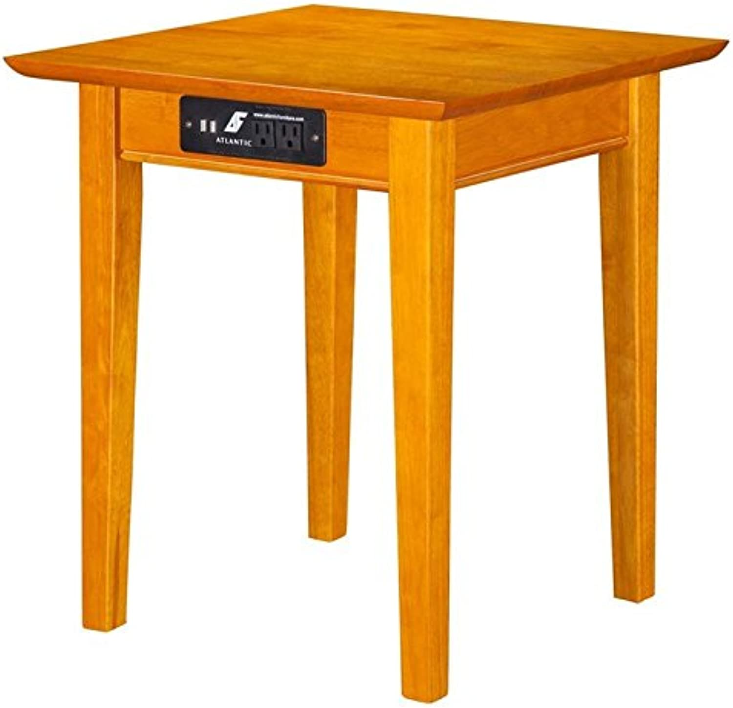 Leo & Lacey Charger End Table in Caramel Latte