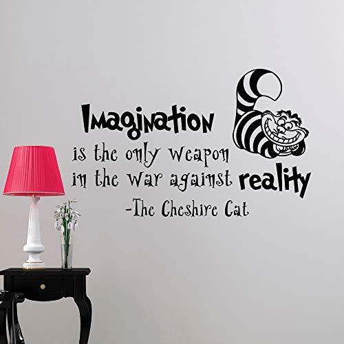 pegatina de pared frases Tatuajes de pared Mural de Alicia en el país de las maravillas La imaginación del gato de Cheshire es la única pared de citas de armas
