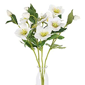 GTIDEA Artificial Silk Flowers Spring Flower Bouquet Floral Arrangement for Tall Vase Home Party Wedding Decor White Pack of 4