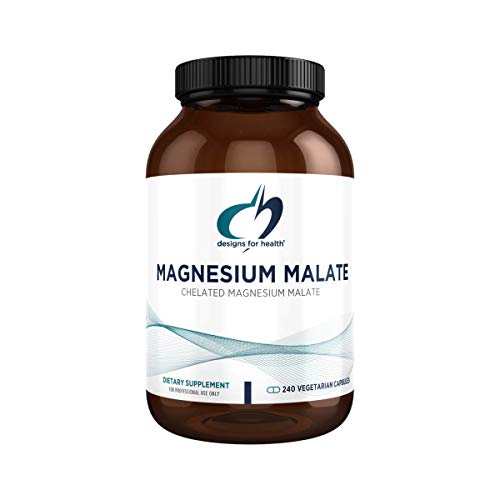 Designs for Health Magnesium Malate - 360mg Chelated Magnesium Supplement - Highly Bioavailable Mag to Support Energy + Muscle Recovery - Non-GMO + Gluten Free (240 Capsules)