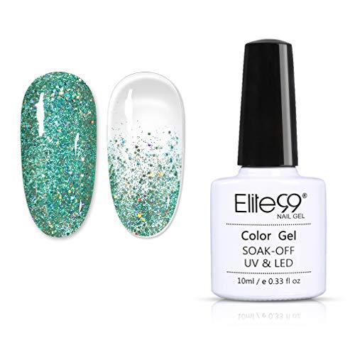 Elite99 Esmaltes de Uñas en Gel UV LED, Nueva Selección de Colores Brillantes, Esmaltes Semipermanentes Glitter Gel Soak off 10ML 9204