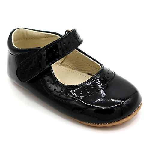 Lujoso diseño Zapatos bebé Charol Cuero Negro Fiestas