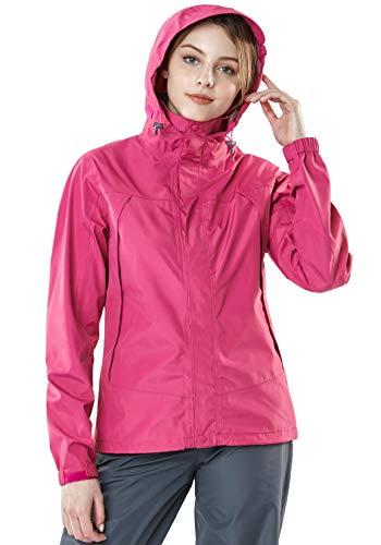 TSLA Women's Waterproof Rain Jackets, Outdoor Hiking Raincoat with Hood, Lightweight Breathable Windbreaker, Rainjacket 3layer(fet32) - Magenta & Magenta, Small