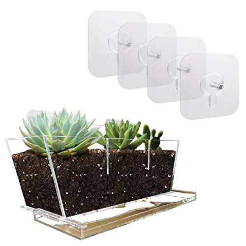 NIUXX Window Planter with Strong Suction Stickers, Window Flower Pot with Drain Tray