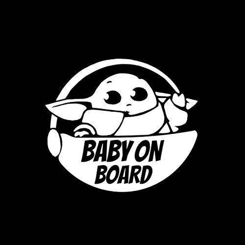 AGL Baby on Board Pegatina (5.5)'- Cute Yoda Safety Caution - Adhesivo de color blanco para furgonetas/paredes/ordenador portátil/coche/camioneta/jeep/ventana/parachoques/casco/vidrio y más