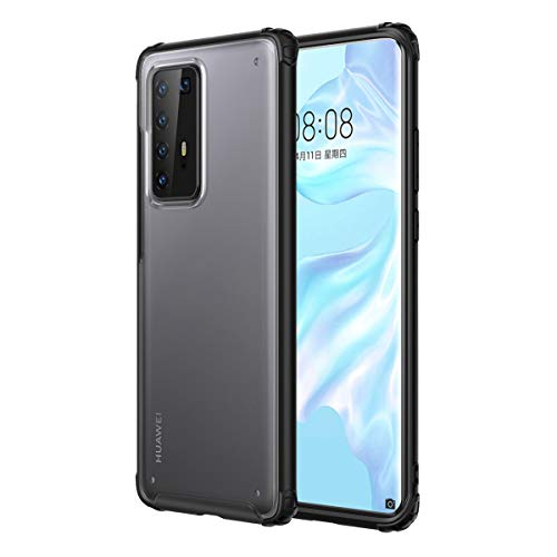 LUSHENG Huawei P40 Pro Case, Anti-Fall Ultralight Case Shock Absorption Transparent Frosted Ultrathin Back Cover for Huawei P40 Pro - Black