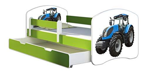 ACMA Kinderbett Jugendbett mit Einer Schublade und Matratze Grün mit Rausfallschutz Lattenrost II 140x70 160x80 180x80 (42 Traktor, 180x80 + Bettkasten)