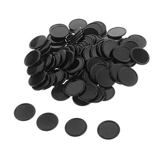 perfeclan 100x Gettoni in Plastica 25mm Gettoni da Gioco per Casinò, Gettoni da Gioco, Gettoni Gialli - Nero