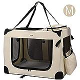 MC Star Trasportino Cane Borsa per Cane Taglia Media Portatile Pieghevole Trasportino Viaggio per Cani Animale Domestico Beige M