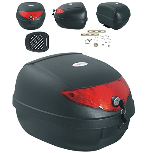 Motocicleta Roller Top Case 28lt anpassungsfähig placa de fijación de Negro