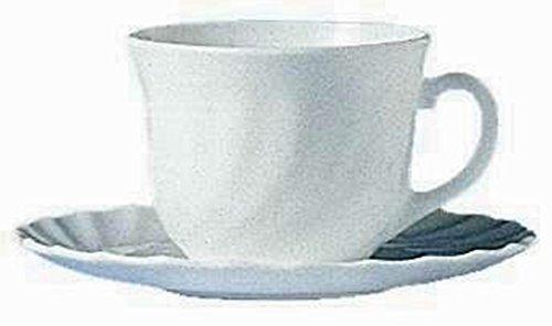 12 Kaffeetassen Trianon 22cl Arcoroc mit Untertasse Opalglas
