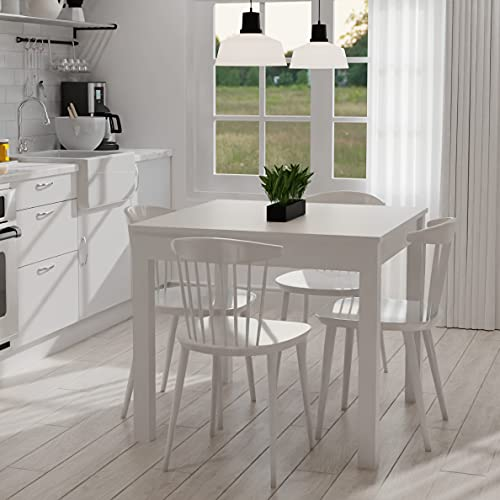Mesa de Madera Cuadrada Fija Color Blanco 90x90 cm