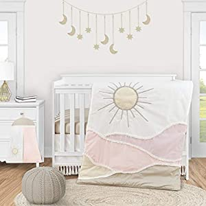 Sweet Jojo Designs Boho Desert Sun Baby Girl Nursery Crib Bedding Set – 4 Pieces – Blush Pink Mauve Gold Ivory Taupe Bohemian Mountains Southwest Nature Outdoors Tassel Minimalist Cotton Geometric