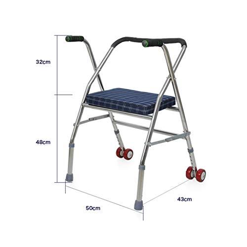 JJZXPJ Rollator, inklapbaar, van roestvrij staal, met wieltjes voor het lopen van krukken, douchekruk voor oudere en gehandicapte mensen