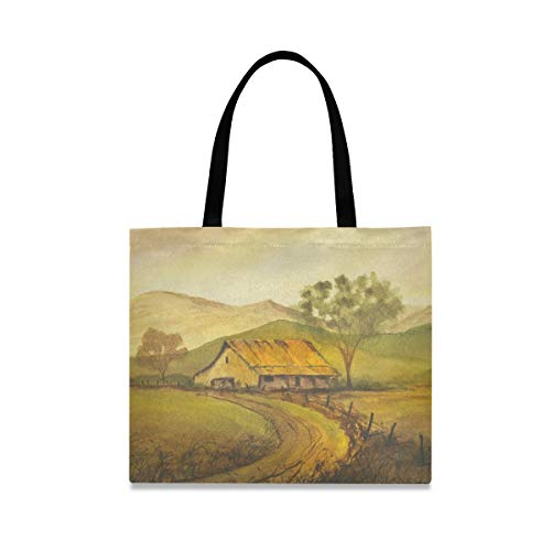 Canvas Tote Bag Country Life Painting Large Heavy Duty Canvas Reusable Grocery Shopping Bag with Interior Zipper Pockets Shoulder Beach Bags for Womens Girls Kids
