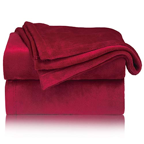Bedsure Mantas para Sofás de Franela 150x200 cm - Manta para Cama 90 Reversible de 100% Microfibre Extra Suave - Manta Roja Transpirable
