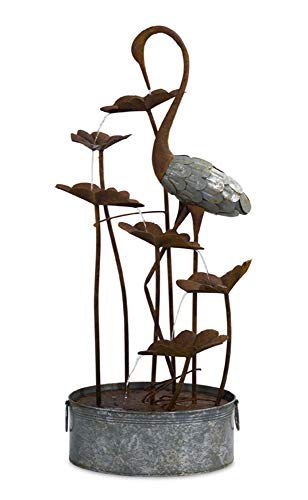 Melrose 50' Rustic Brown and Gray Crane in Lily Pad Fountain