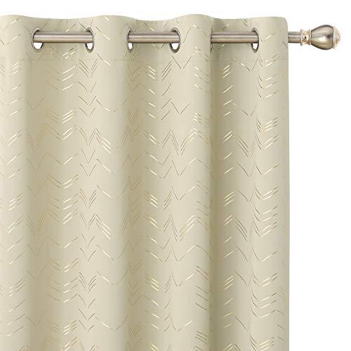 Amazon Brand – Umi Cortinas Salon Opaca de Dibujos Líneas con Ollaos 2 Piezas 168x229cm Beige Oscuro