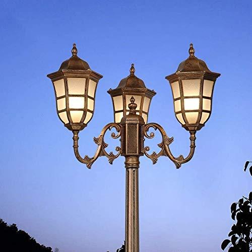 aipipl Lámpara de Poste de Calle de Vidrio de Aluminio Fundido a presión de 3 vías de Poste Alto Lámpara de Poste de Calle a Prueba de Agua Iluminación Exterior Impermeable Columna de Linterna para