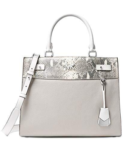 """Large sized bag; 13""""W x 10""""H x 5-1/2""""D 5-1/4""""L handles; 17-1/2""""L to 19-1/2""""L adjustable, removable strap Silver-tone exterior hardware, 1 back zip pocket & 1 front slip pocket 1 interior zip pocket, 2 back slip pockets & 6 front slip pockets Leather;..."""