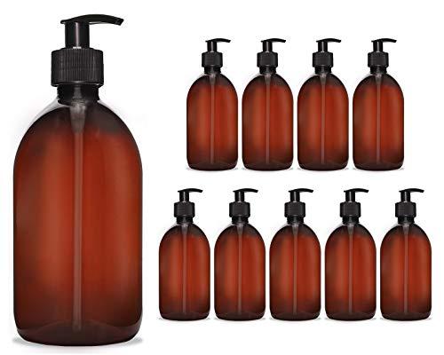 Octopus 10x 500 ml Seifenspender Cremespender Kunststoff für Bad/WC nachfüllbar, Pumpspender Desinfektion Lotion Spender für Flüssigseife, Handseife, Shampoo, Spülmittel, braun/schwarz