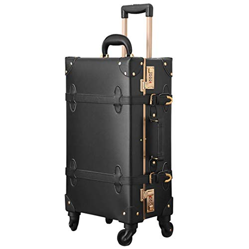 Pu Leather Carry On Luggage Set Vintage Trolley Suitcase Retro Style Rolling Trunk with Spinner Wheels Pearl Black 22'