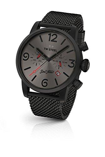 TW Steel Herren analog Quarz Uhr mit Edelstahl Armband MST4