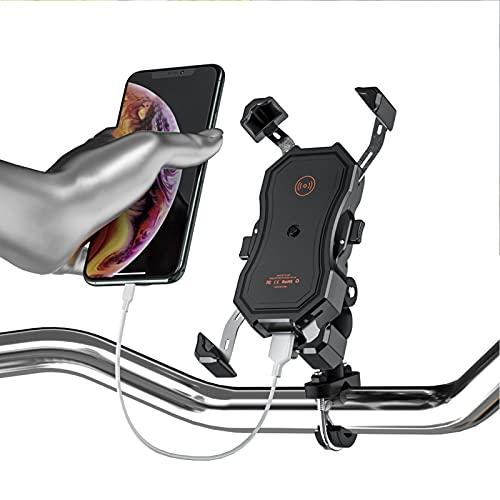 Soporte para cargador de teléfono para motocicleta QC3.0 USB + Carga rápida inalámbrica DC12‑24V Soporte para teléfono celular de carga USB inalámbrico universal Soporte para teléfono móvil para manil