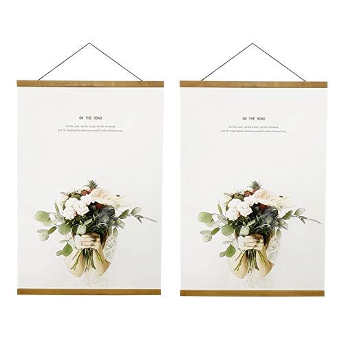 Price comparison product image Miaowater 2 Pack Poster Frame, 20x16 20x24 20x28 20x30 Magnetic Light Wood Wooden Frames Hanger for Photo Picture Art Canvas Print Artwork Wall Hanging Teak Wood 20''