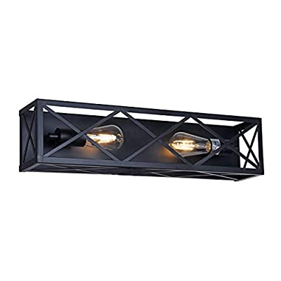 MELUCEE 4-Light Black Vanity Light, Farmhouse Bathroom Lighting Industrial Wall Sconce with Mesh Cage for Foyer Bedroom Kitchen Hallway Stairs
